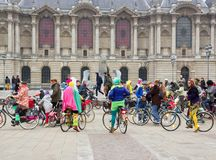 The Velorution Lille (59 Nord, France) Saturday, March 14, 2015, in front of the Palais des Beaux Arts. Royalty Free Stock Photography