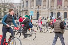 The Velorution Lille (59 Nord, France) Saturday, March 14, 2015, in front of the Palais des Beaux Arts. Royalty Free Stock Photos