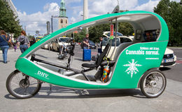 Velotaxy rickshaw in Berlin with add Stock Images