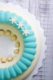 Velour σοκολάτας μπλε και άσπρο mousse κέικ με snowflakes Στοκ φωτογραφία με δικαίωμα ελεύθερης χρήσης