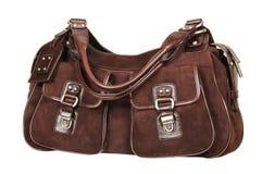 Velourslederfrauhandtasche Stockbild