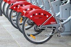 Velov自助自行车租务在利昂法国 免版税库存图片