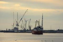 Velsen holandie, May 1st 2017: Statku żeglowanie w kierunku IJmuiden dennego kędziorka Duży denny kędziorek w świacie pod constru Fotografia Stock
