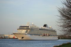 Velsen Nederländerna - April, 21st 2018: Millivolt Viking Sea Fotografering för Bildbyråer