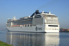 Velsen, the Netherlands - April, 20 2018: MSC Magnifica by MSC Cruises. Velsen, the Netherlands - April, 20 2018: MSC Magnifica in North Sea Cana, operated by royalty free stock images