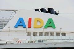 Velsen, the Netherlands -April 19th, 2017:   Aida Diva. Velsen, the Netherlands -April 24th, 2017:   Aida Diva Company logo Stock Photo