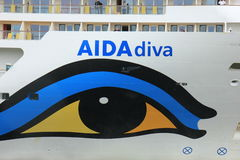 Velsen, the Netherlands -April 19th, 2017:   Aida Diva. Velsen, the Netherlands -April 24th, 2017:   Aida Diva on North Sea Canal, detail of the bow Stock Images