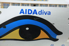 Velsen, the Netherlands -April 19th, 2017:   Aida Diva. Velsen, the Netherlands -April 24th, 2017:   Aida Diva on North Sea Canal, detail of the bow Royalty Free Stock Images