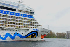 Velsen, the Netherlands -April 19th, 2017:   Aida Diva. Velsen, the Netherlands -April 24th, 2017:   Aida Diva on North Sea Canal, on it`s way to the Amsterdam Stock Photography
