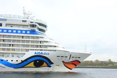 Velsen, the Netherlands -April 19th, 2017: Aida Diva. Velsen, the Netherlands -April 24th, 2017: Aida Diva on North Sea Canal, on it`s way to the Amsterdam royalty free stock images