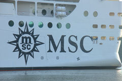 Velsen, The Netherlands - July 2nd, 2015: MSC Splendida, detail Royalty Free Stock Photos