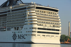 Velsen, The Netherlands - July 2nd, 2015: MSC Splendida, detail Royalty Free Stock Image