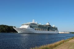 Velsen, the Netherlands -July 3rd 2018: Brilliance of the Seas. In North Sea Canal, operated by Royal Caribbean International stock photography