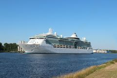 Velsen, the Netherlands -July 3rd 2018: Brilliance of the Seas. In North Sea Canal, operated by Royal Caribbean International royalty free stock photos