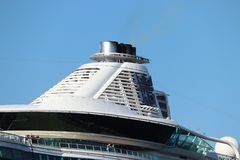Velsen, the Netherlands -July 3rd 2018: Brilliance of the Seas. In North Sea Canal, operated by Royal Caribbean International. Detail of funnel stock images