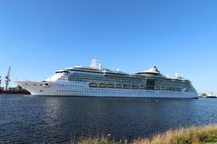 Velsen, the Netherlands -July 3rd 2018: Brilliance of the Seas. In North Sea Canal, operated by Royal Caribbean International royalty free stock images