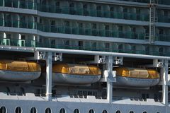 Velsen, the Netherlands -July 3rd 2018: Brilliance of the Seas. In North Sea Canal, operated by Royal Caribbean International. Detail of tenders stock images