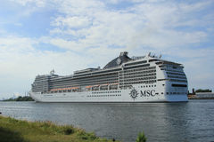 Velsen, the Netherlands, July 7th, 2014 : MSC Magnifica. On North Sea Canal from Amsterdam towards the Ijmuiden locks, The Magnifica is operated by MSC since Royalty Free Stock Photos