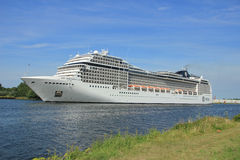 Velsen, the Netherlands, July 7th, 2014 : MSC Magnifica. On North Sea Canal from Amsterdam towards the Ijmuiden locks, The Magnifica is operated by MSC since Royalty Free Stock Photo