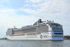 Velsen, the Netherlands, July 7th, 2014 : MSC Magnifica. On North Sea Canal from Amsterdam towards the Ijmuiden locks, The Magnifica is operated by MSC since Stock Images