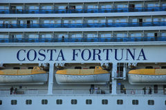 Velsen, The Netherlands - June 11, 2015: Costa Fortuna detail Royalty Free Stock Images