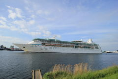 Velsen, The Netherlands - June 3rd 2017: Vision of the Seas, Royal Caribbean International. On North Sea Channel towards North Sea Royalty Free Stock Image