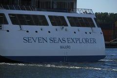 Velsen, The Netherlands - June 16th 2017: Seven Seas Explorer - Regent Cruises. On North Sea Channel, towards North Sea Stock Photo