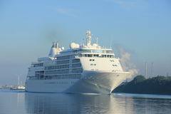 Velsen, The Netherlands - June 18th 2017: Silver Whisper- Silversea Cruises. On North Sea Channel towards Amsterdam Cruise terminal Stock Photography