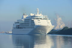 Velsen, The Netherlands - June 18th 2017: Silver Whisper- Silversea Cruises. On North Sea Channel towards Amsterdam Cruise terminal Stock Image