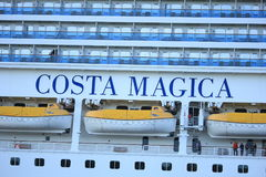 Velsen, The Netherlands - May, 31st 2017: Costa Magica detail. Velsen, The Netherlands - May, 31st 2017: Costa Magica on North Sea Channel, life boats Stock Images