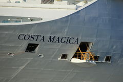 Velsen, The Netherlands - May, 31st 2017: Costa Magica detail. Velsen, The Netherlands - May, 31st 2017: Costa Magica on North Sea Channel, detail of ship Stock Photography