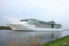 Velsen, the Netherlands, May 1st 2017: Royal Caribbean Serenade of the Seas. On North Sea Canal from Amsterdam towards the Ijmuiden sea lock Stock Photo