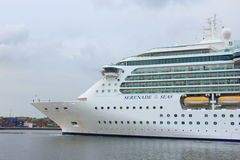 Velsen, the Netherlands, May 1st 2017: Royal Caribbean Serenade of the Seas. On North Sea Canal from Amsterdam towards the Ijmuiden sea lock Royalty Free Stock Photography