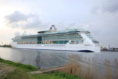 Velsen, the Netherlands, May 1st 2017: Royal Caribbean Serenade of the Seas. On North Sea Canal from Amsterdam towards the Ijmuiden sea lock Stock Image