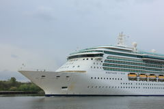 Velsen, the Netherlands, May 1st 2017: Royal Caribbean Serenade of the Seas. On North Sea Canal from Amsterdam towards the Ijmuiden sea lock Stock Photos