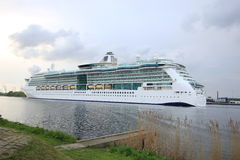 Velsen, the Netherlands, May 1st 2017: Royal Caribbean Serenade of the Seas. On North Sea Canal from Amsterdam towards the Ijmuiden sea lock Stock Photography