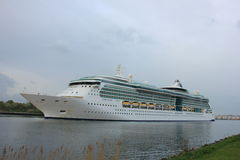 Velsen, the Netherlands, May 1st 2017: Royal Caribbean Serenade of the Seas. On North Sea Canal from Amsterdam towards the Ijmuiden sea lock Royalty Free Stock Photos