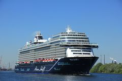 Velsen, The Netherlands - May 7th 2018: Mein Schiff 1 TUI Cruises. On North Sea Canal royalty free stock photos