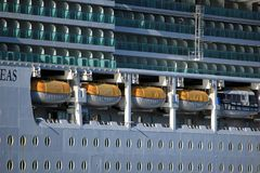 Velsen, the Netherlands - May 4th 2018: MS Serenade of the Seas. In North Sea Canal, operated by Royal Caribbean International. Detail of balcony staterooms and Royalty Free Stock Photos