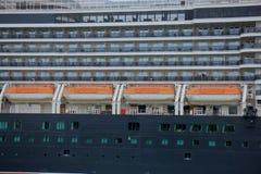 Velsen, os Países Baixos - 7 de junho de 2017: Rainha Victoria - Cunard, detalhe de canoas de salvação Fotos de Stock