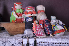 Velskie popular rag dolls handmade. Many handmade colorful dolls made of fabric and straws. They do not have faces due to old paganism traditions. Souvenirs Stock Photo