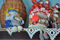 Velskie popular rag dolls handmade. Many handmade colorful dolls made of fabric and straws. They do not have faces due to old paganism traditions. Souvenirs Stock Image