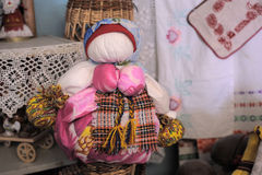 Velskie popular rag dolls handmade. Many handmade colorful dolls made of fabric and straws. They do not have faces due to old paganism traditions. Souvenirs Stock Images