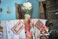 Velskie popular rag dolls handmade. Many handmade colorful dolls made of fabric and straws. They do not have faces due to old paganism traditions. Souvenirs Royalty Free Stock Image