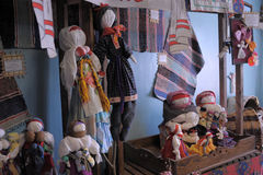 Velskie popular rag dolls handmade. Many handmade colorful dolls made of fabric and straws. They do not have faces due to old paganism traditions. Souvenirs Royalty Free Stock Photos