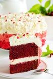 Veludo caseiro do vermelho do bolo fotografia de stock