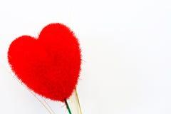Veludo dois vermelho heart-shaped foto de stock