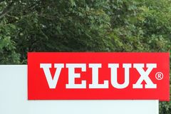 Velux logo at the entrance of the factory. Ostbirk, Denmark - September 5, 2015: Velux logo at the entrance of the factory. Velux is a danish company that Royalty Free Stock Photography