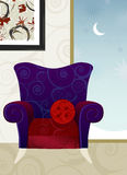 Velvet Armchair Winter Night  Stock Photos