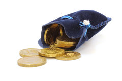 Velvet bag with rubles Royalty Free Stock Image
